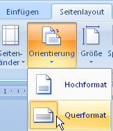 Seite in Querformat in Word 2007