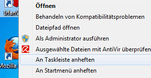 Programme - Anwendungen an Taskleiste anheften in Windows 7